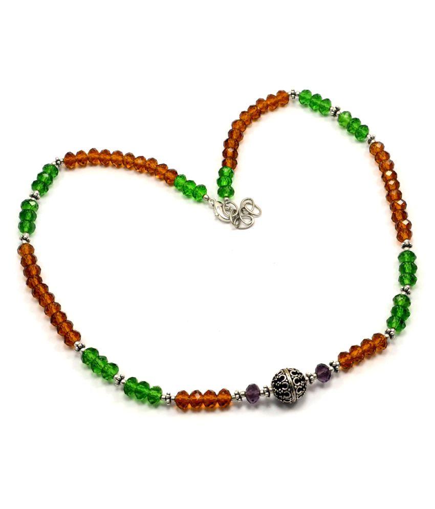 Silvestoo Jaipur Green, Honey & Smoky Quartz Necklace PG-105505