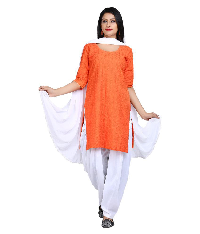 Aavaya Fashion Orange Cotton Straight Stitched Suit