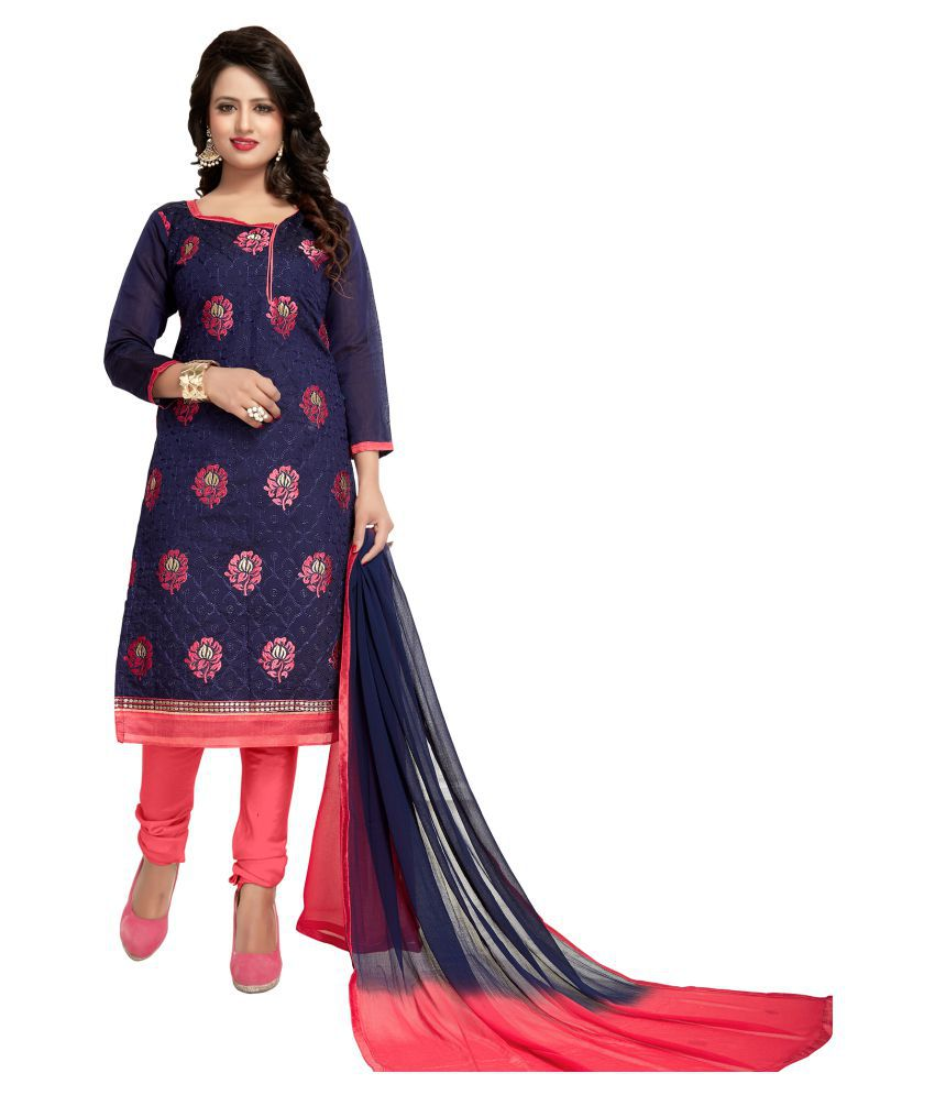 98c2a390be Fabkarts Fashion Blue and Red Chanderi Dress Material - Buy Fabkarts  Fashion Blue and Red Chanderi Dress Material Online at Best Prices in India  on Snapdeal