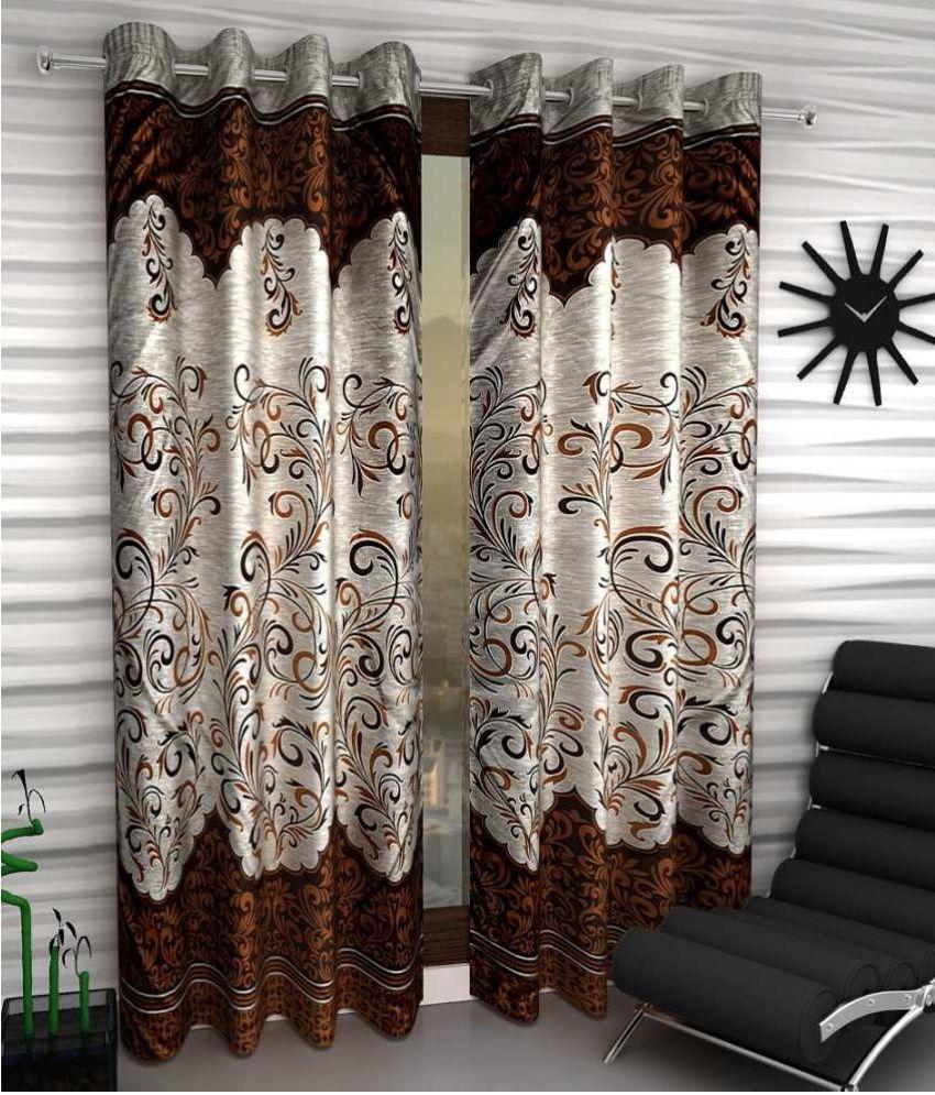 Tanishka Fabs Set Of 2 Door Eyelet Curtains Printed Brown