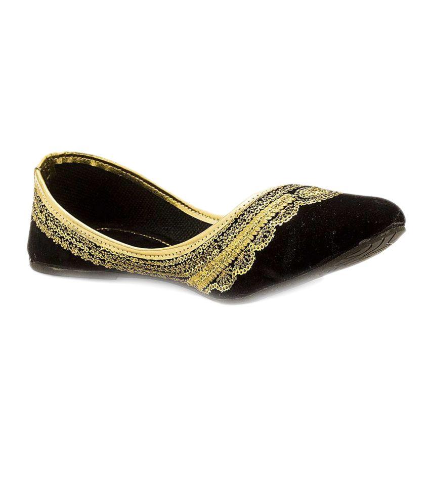 Jaipuri Shop Black Flat Ethnic Footwear