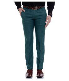 Singham Olive Green Regular -Fit Flat Trousers