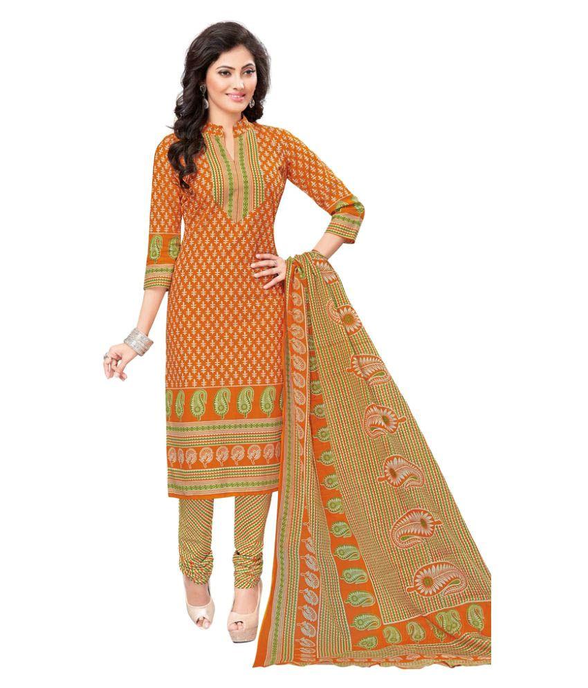 AMP IMPEX Orange Cotton Dress Material