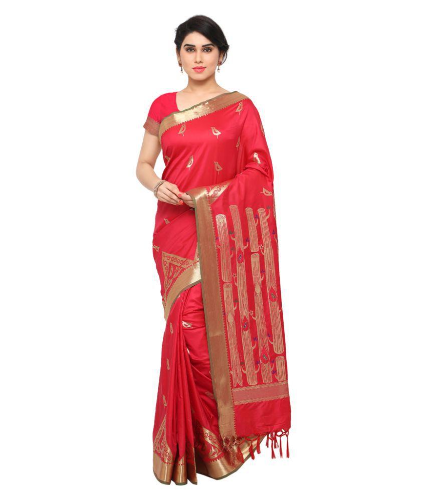 Varkala Silk Sarees Red and Orange Art Silk Saree