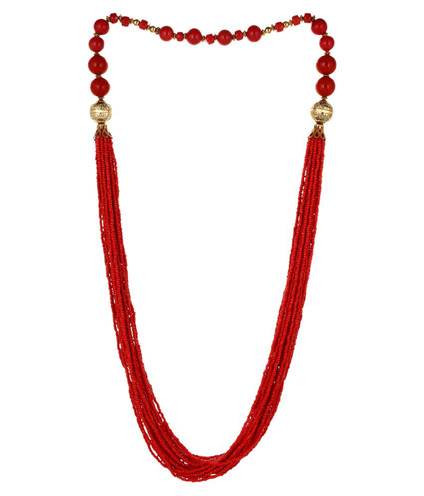 Aradhya Elegant Casual Wear Maroon Colour Beads necklace for Women and Girls