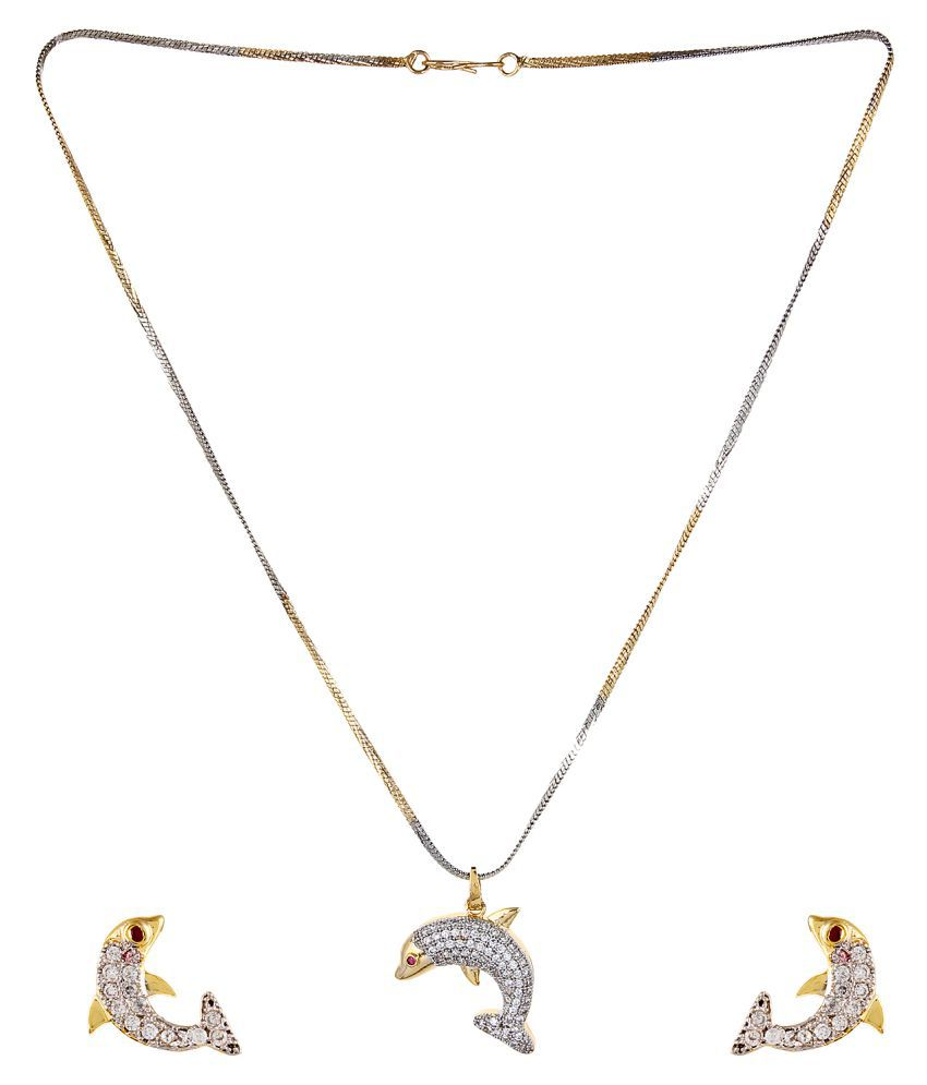 Aradhya designer gold plated fish design pendant set with earring aradhya designer gold plated fish design pendant set with earring for women and girls aloadofball Choice Image