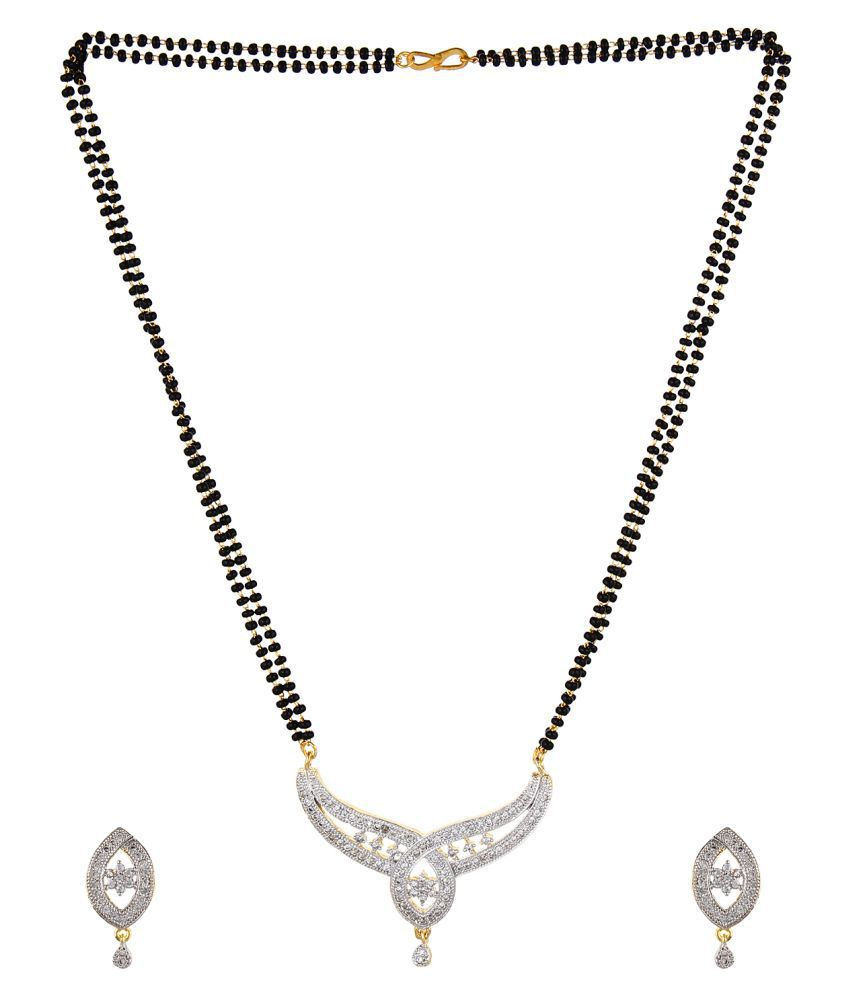 Aradhya designer high quality gold plated american diamond aradhya designer high quality gold plated american diamond mangalsutra pendant with double string chain with earrings aloadofball Images