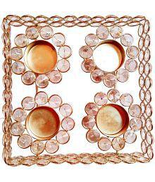 Decorate India White Table Top Aluminium Tea Light Holder - Pack Of 1