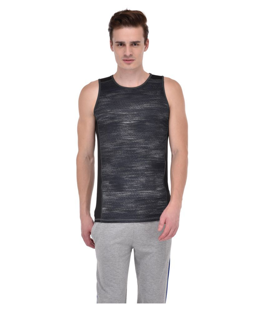 Ansh Fashion Wear Grey Polyester Lycra T-Shirt Single Pack