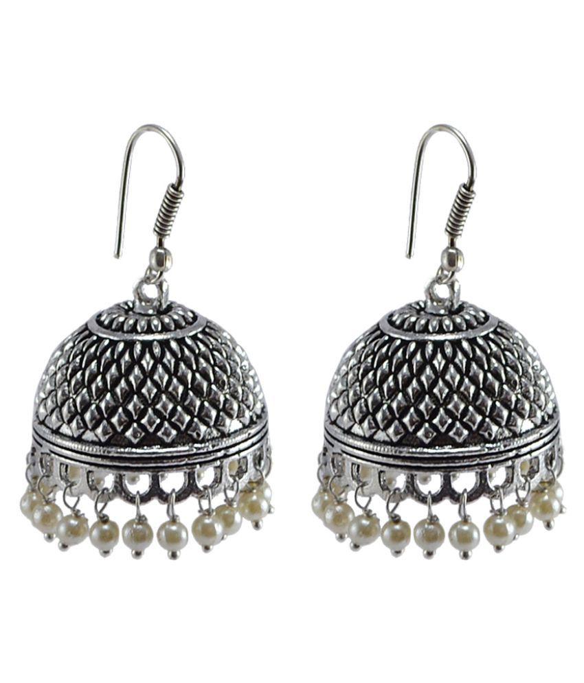 Jaipuri Dancing Jhumki-PEARL JHUMKA Earrings-Handmade Artisan Jewelry By Silvesto India PG-105700