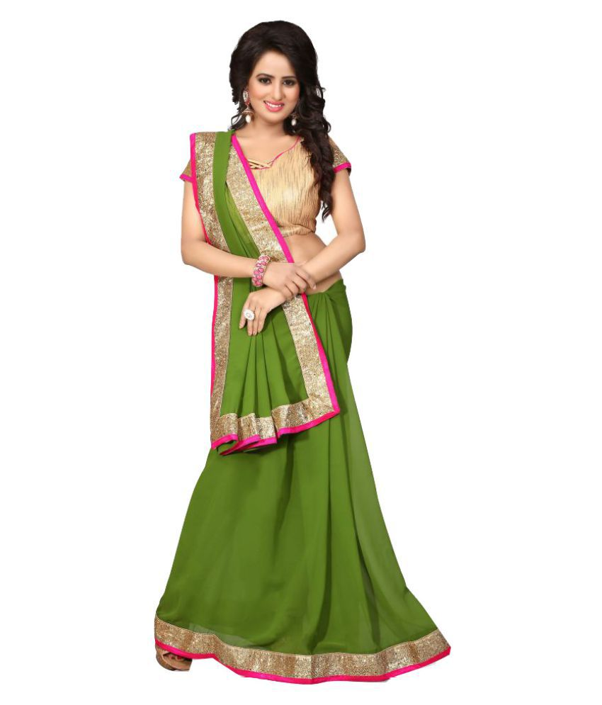 Magikmania Green Georgette Saree