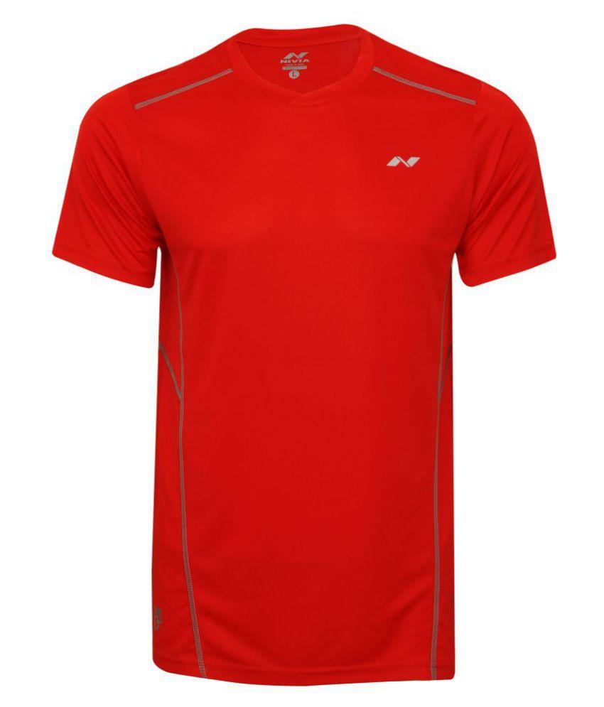 Nivia Oxy-1 Fitness Tee Red-2213-l4