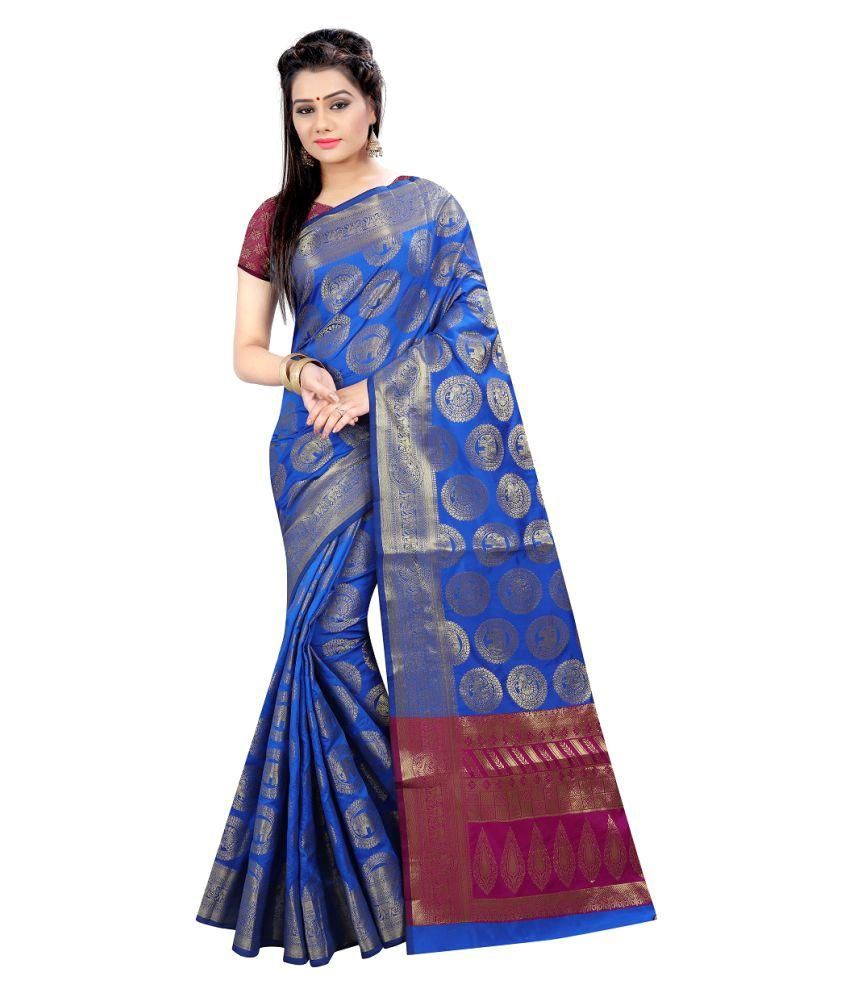 Online Bazaar Blue and Grey Silk Saree