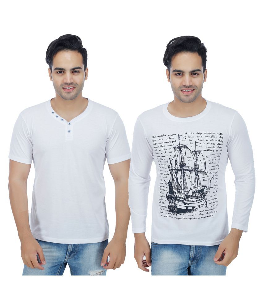 Christy World White Henley T-Shirt Pack of 2