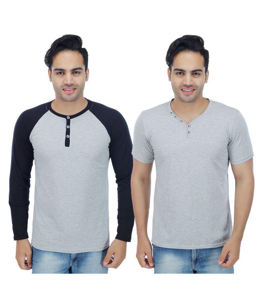Rakshita's Collection Grey Henley T-Shirt Pack of 2