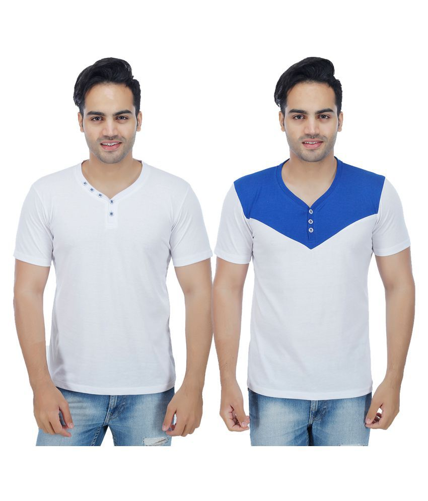 Christy World White Henley T-Shirt Pack of 2