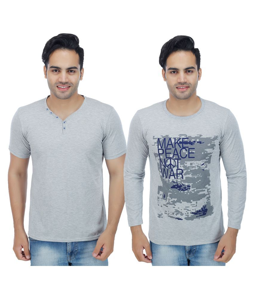 Christy's Collection Grey Henley T-Shirt Pack of 2