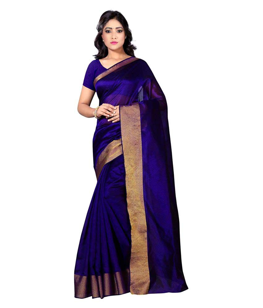 PR Creation Blue and Purple Art Silk Saree