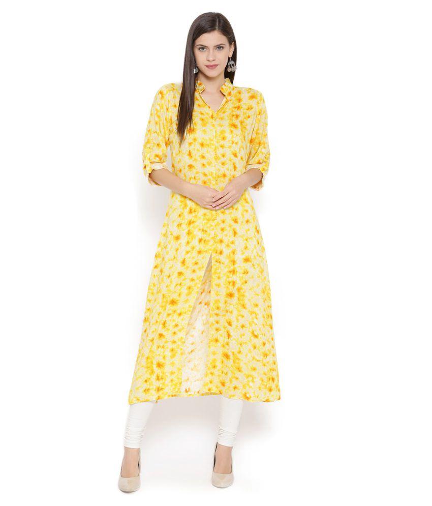Aujjessa Yellow Rayon Front Slit Kurti