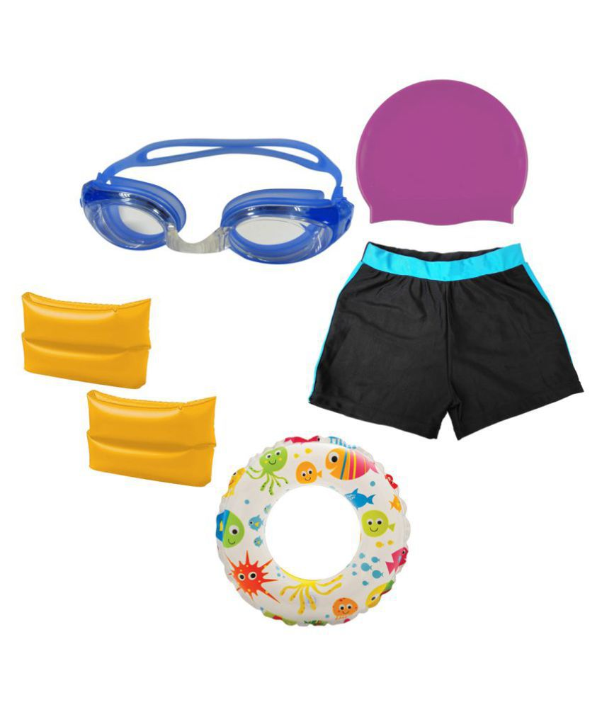 Gold Dust Swimming Goggles, Silicone Cap, ArmBand, Swim Ring with Swim Shorts for 3-6 Year Child/ Swimming Costume
