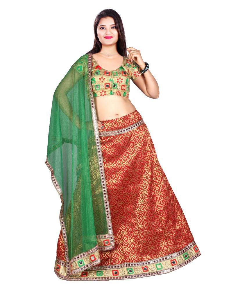 a33d6a6689 Cerca Green and Red Brocade Circular Unstitched Lehenga - Buy Cerca Green and  Red Brocade Circular Unstitched Lehenga Online at Best Prices in India on  ...