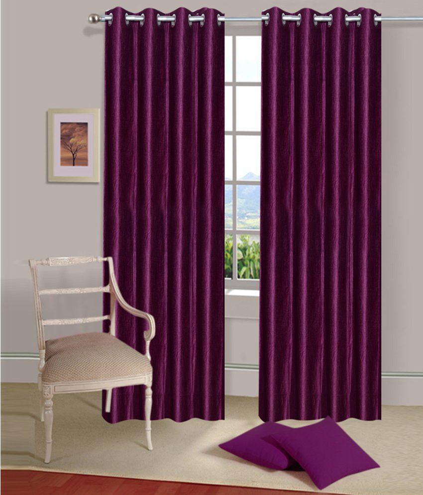 Shri Shyam Furnishing Set of 2 Door Eyelet Curtains Solid Purple