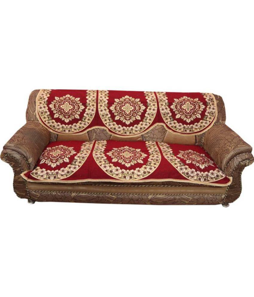 Midhagroups 5 Seater Jacquard Set Of 6 Sofa Cover Set