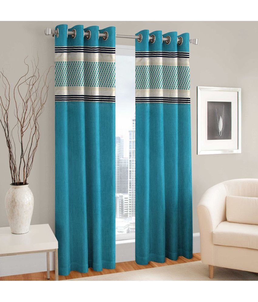Shri Shyam Furnishing Set of 2 Door Eyelet Curtains Printed Aqua