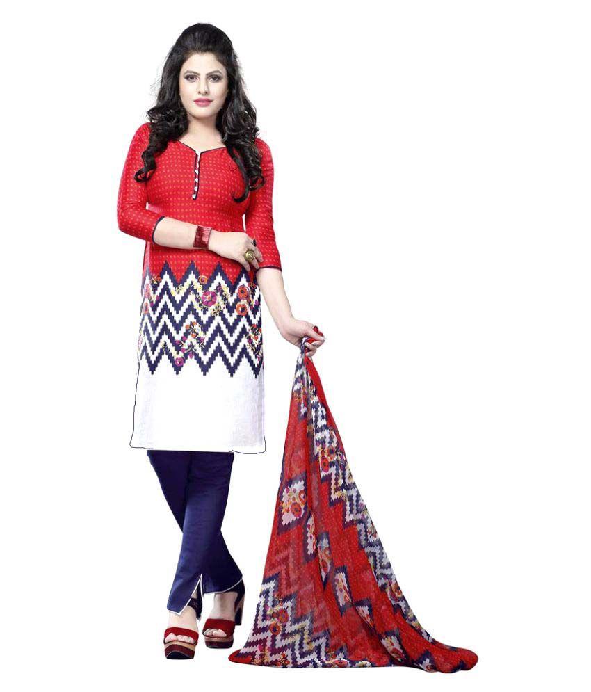 Minu Multicoloured Cotton Dress Material