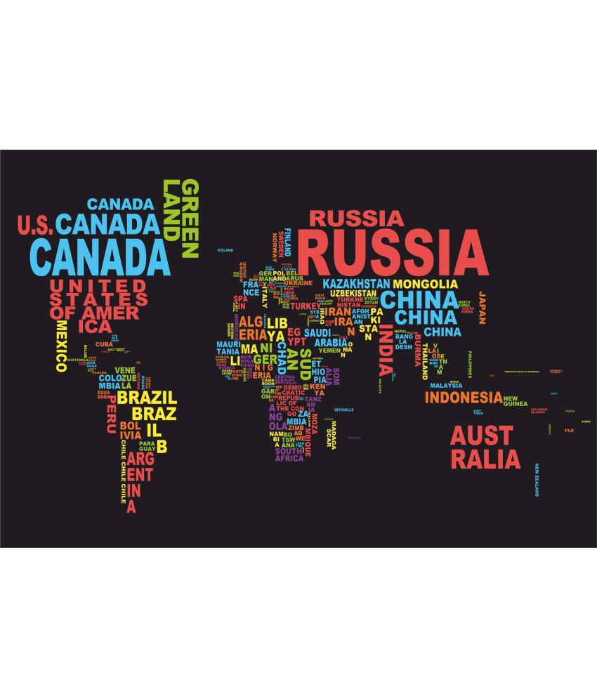 My Home World Map Names Country Paper Wall Poster Without Frame: Buy ...