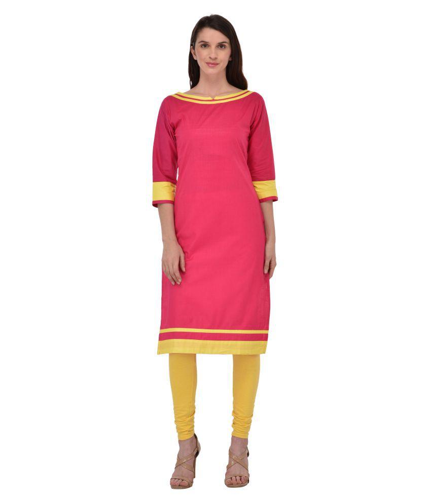 Drapes Pink Cotton Straight Kurti