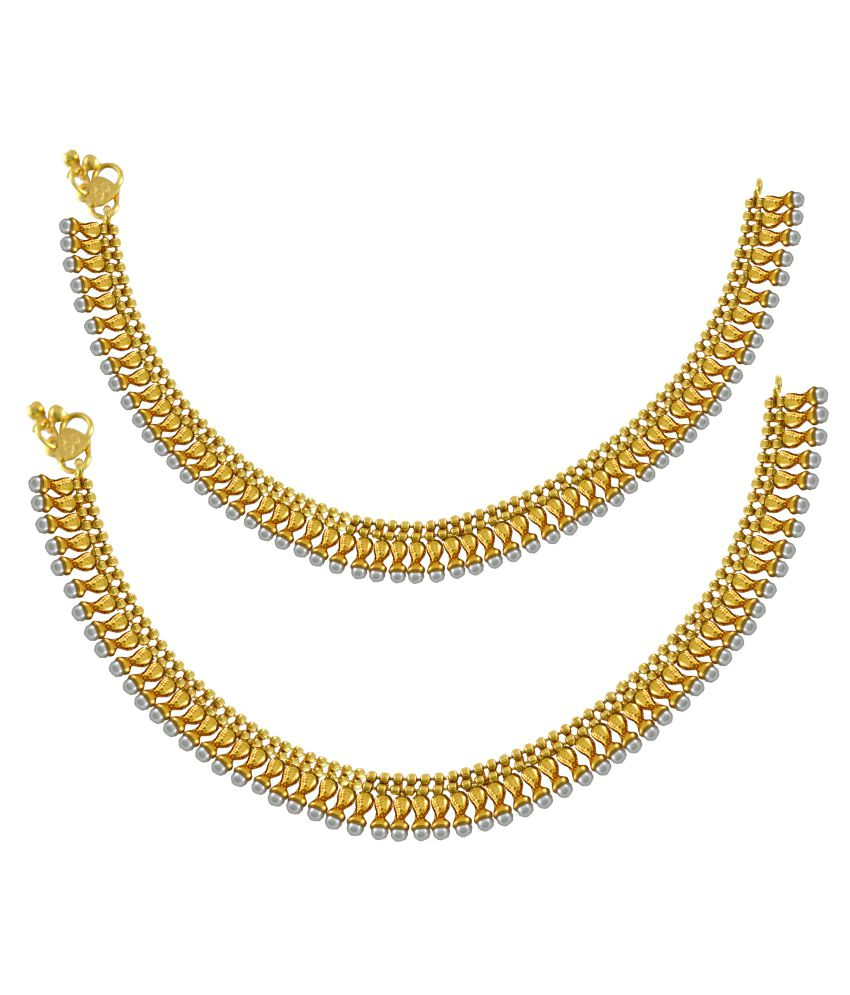 Pearl & Gold Plated Light Weight Pair Of Anklet