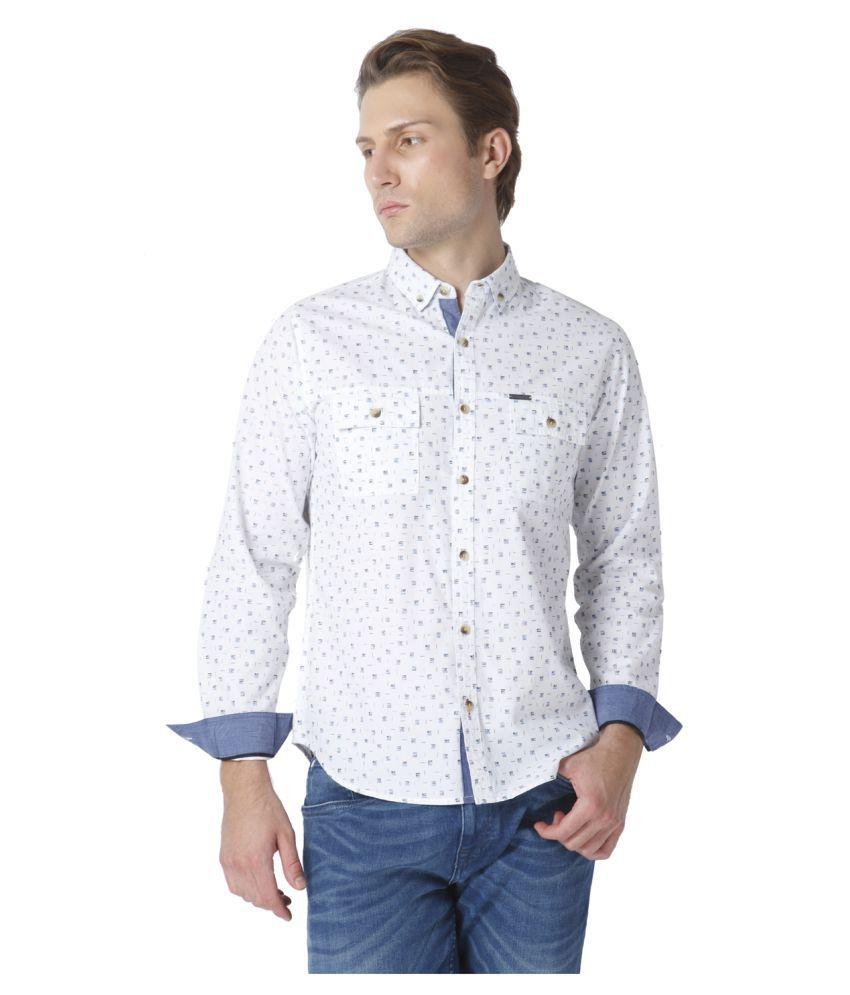 Urban Scottish White Casual Slim Fit Shirt