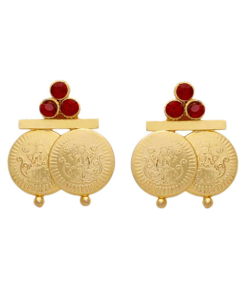 Memoir Brass Gold red cz laxmi coin earrings for Women