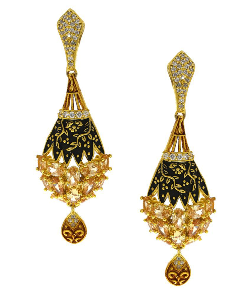 Anuradha Art Golden Colour Styled With Studded Peach Colour Shimmering Stone Traditional Earrings For Women/Girls