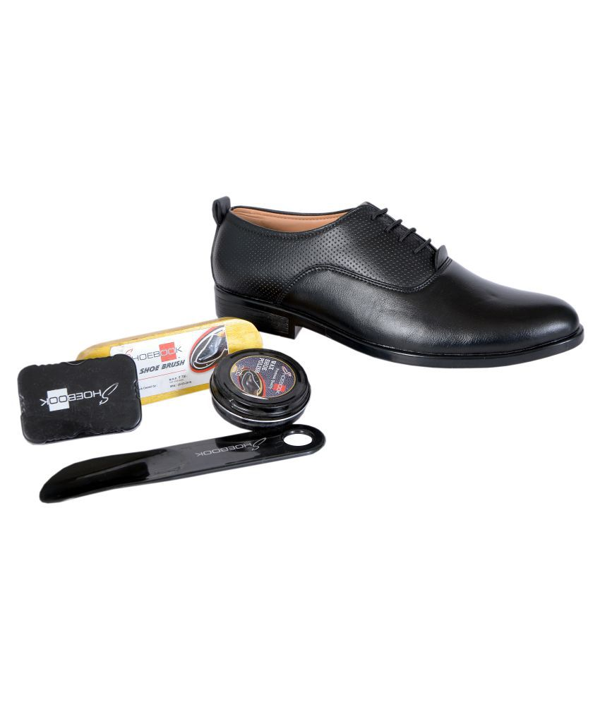 Shoebook Black Formal Shoe Combo