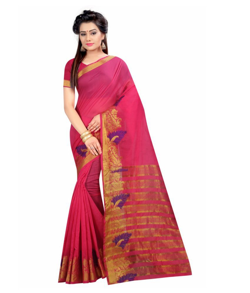 BuyerHub Pink Georgette Saree