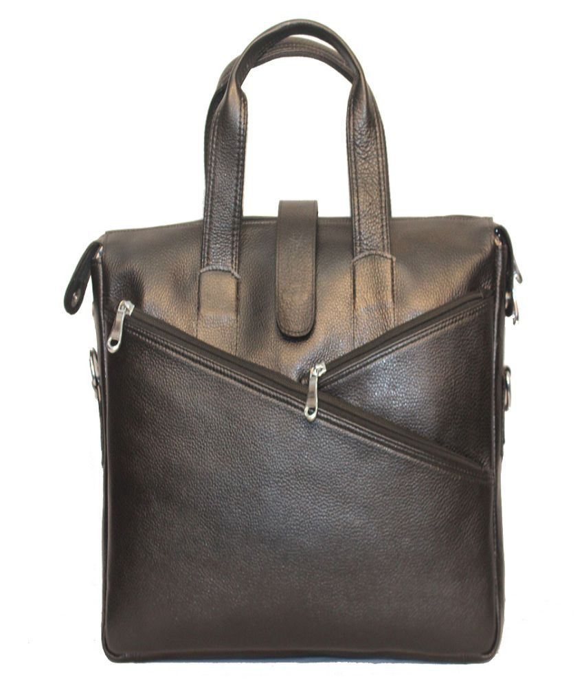 ALB Brown Leather Office Messenger Bag