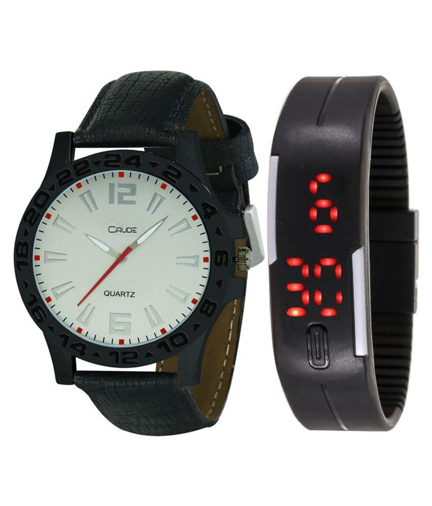 Crude Black Leather Couple Wrist Watch