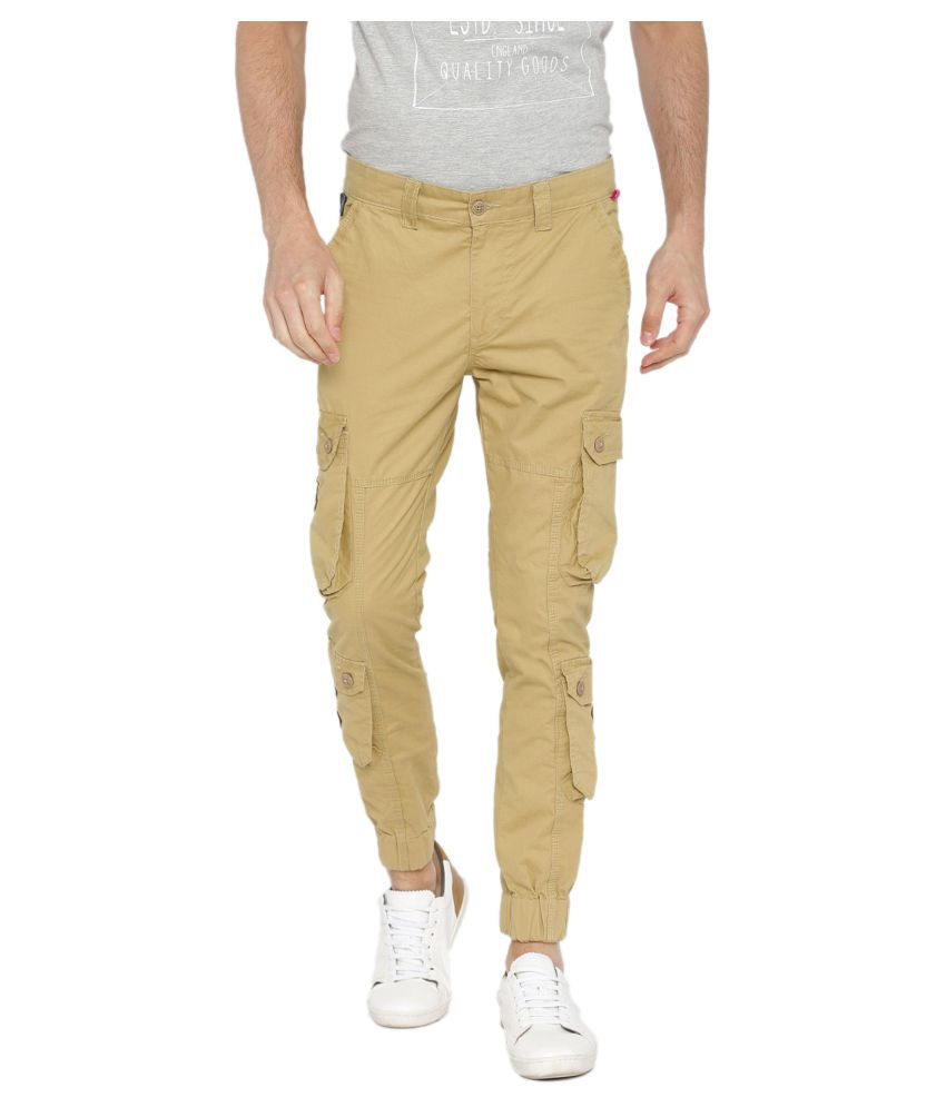 Sports 52 Wear Beige Regular -Fit Flat Cargos
