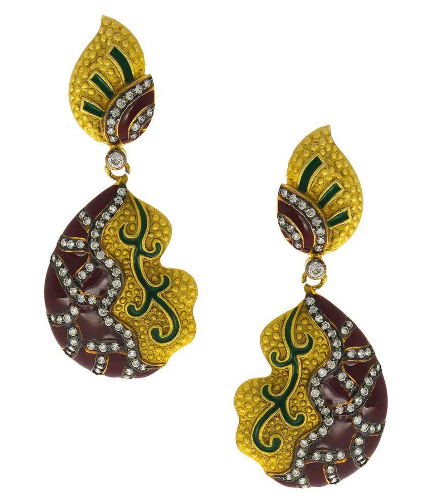 Anuradha Art Maroon-Green Colour Wonderful Classy Party Wear Long Earrings For Women/Girls