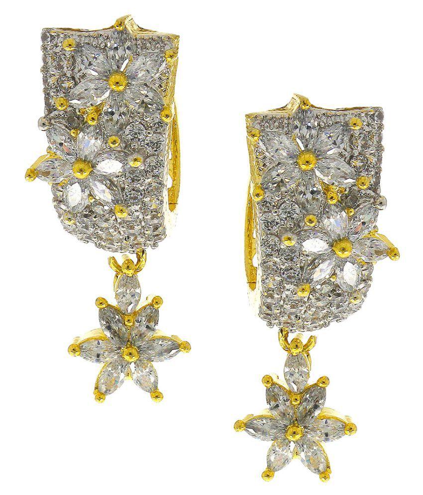 Anuradha Art White Colour Designer Studded American Diamonds Stone Wonderful Party Wear Long Earrings For Women/Girls