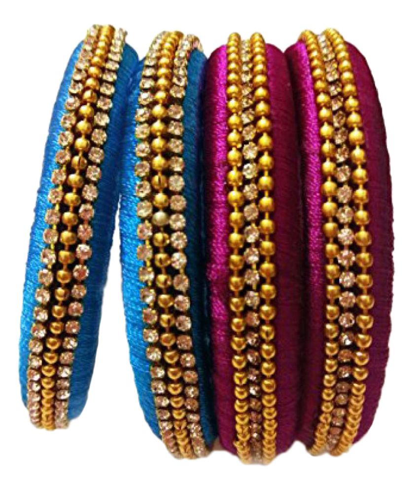 MULTI COLORED SILK THREAD BANGLE SET