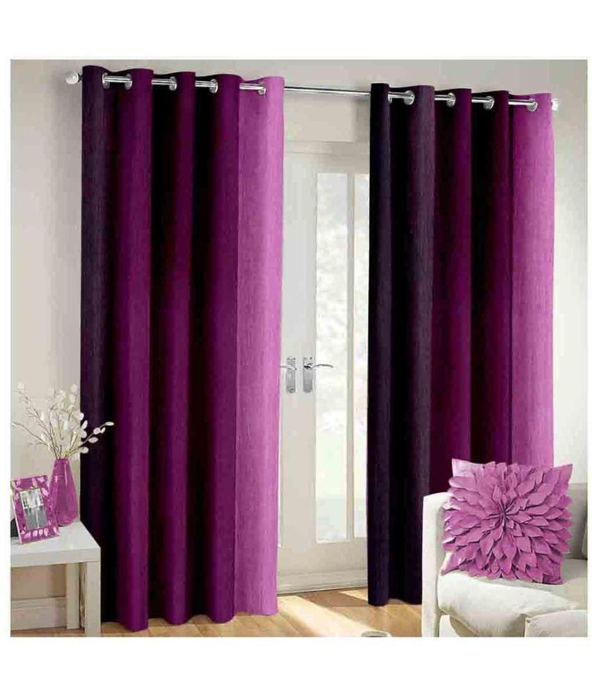 Shri Shyam Furnishing Set of 2 Door Eyelet Curtains Purple