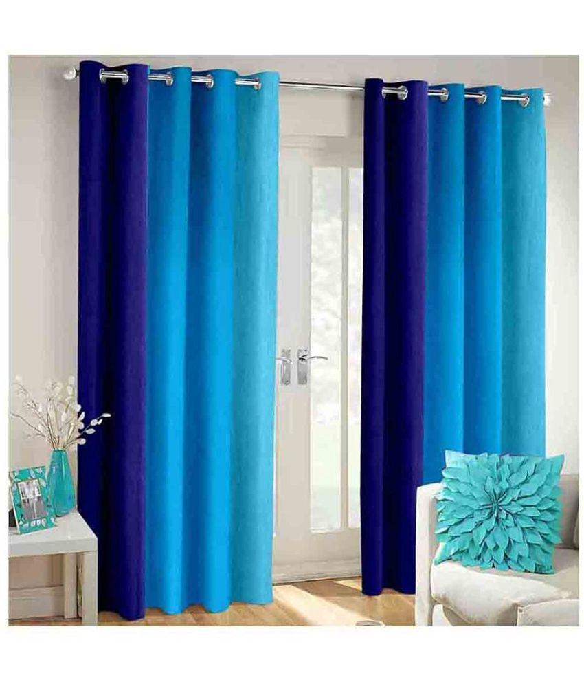 Shri Shyam Furnishing Set of 2 Door Eyelet Curtains Plain Blue
