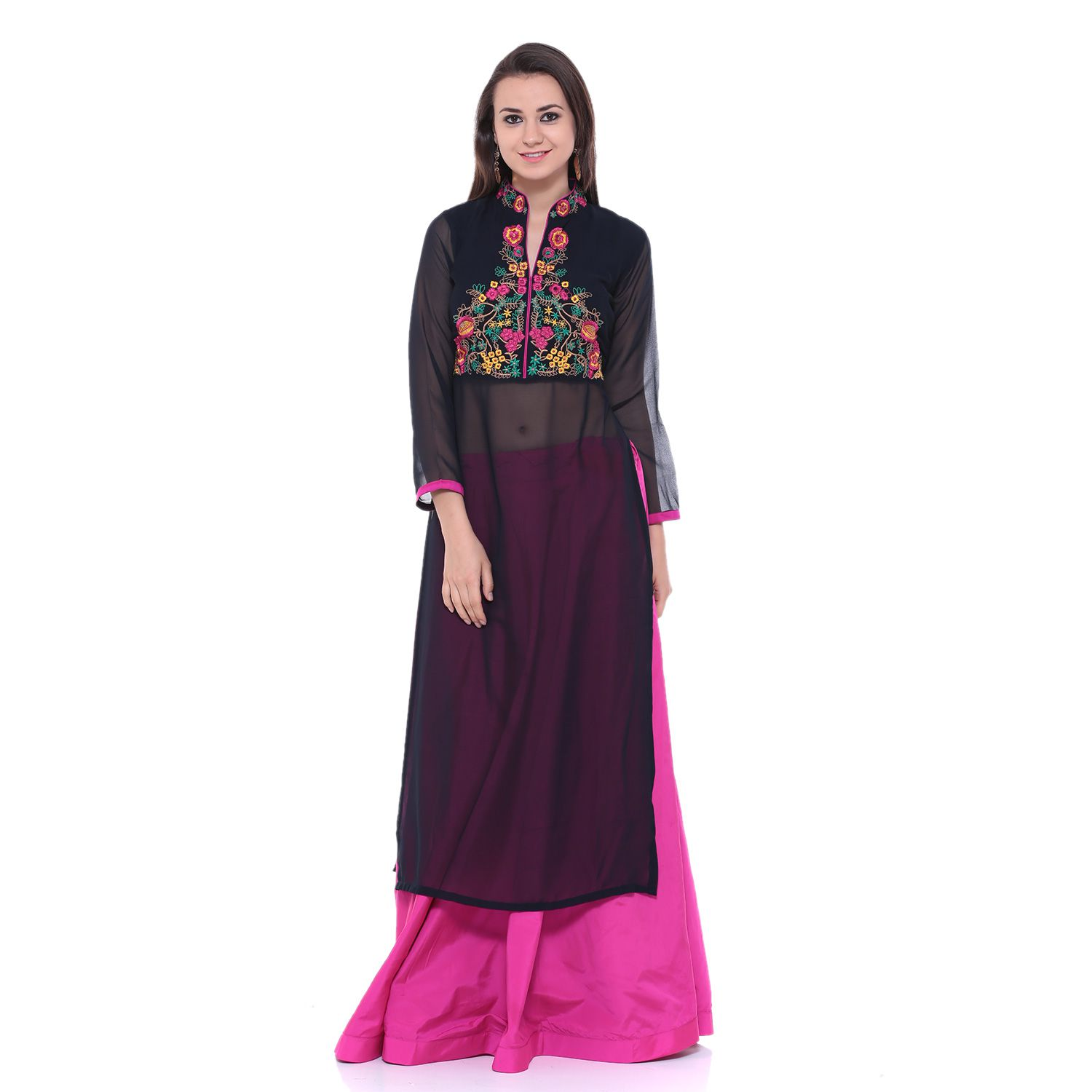 Square Feet Black Georgette Straight Stitched Suit