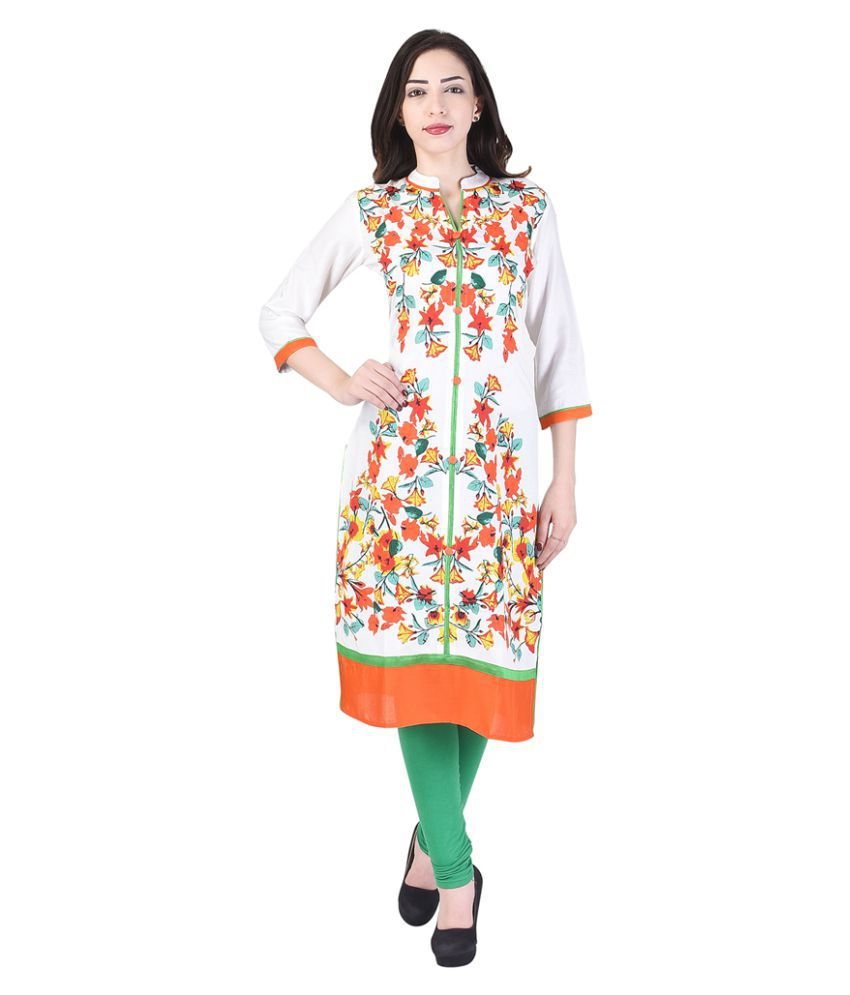 Shopping Rajasthan Multicoloured Rayon Straight Kurti