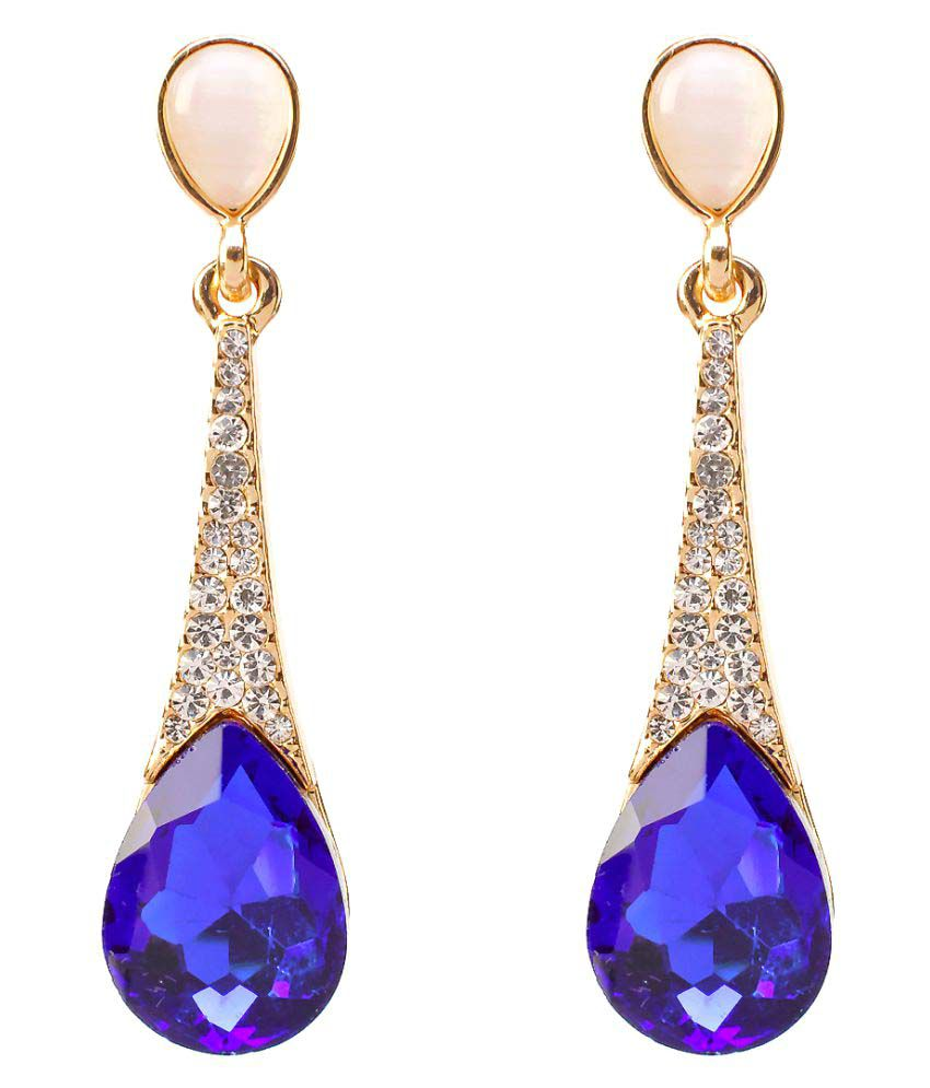 Fancy Party Wear Blue Stone Earrings For S Gold Plated Tear Drop By Freshvibes