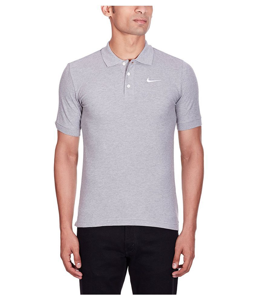 Nike Grey Cotton Polo T-Shirt
