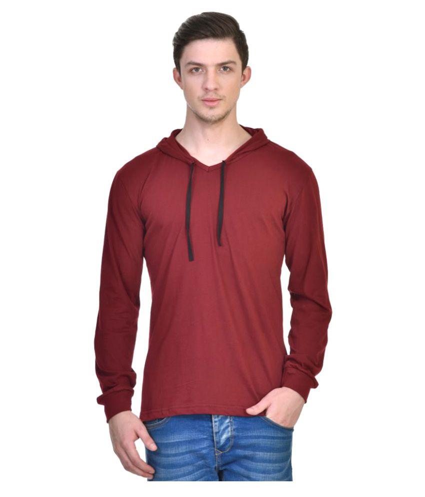 Urbano Fashion Maroon Hooded T-Shirt